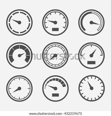 Circular meter vector set. Collection of round gauges. Simple icons meters isolated from the background. Black symbols speedometer, tachometer and manometer. Rating meter illustration.  - stock vector