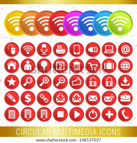 CIRCULAR MULTIMEDIA ICONS / Set of icons  - stock vector