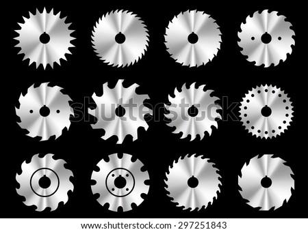 Circular saw blade icons - stock vector