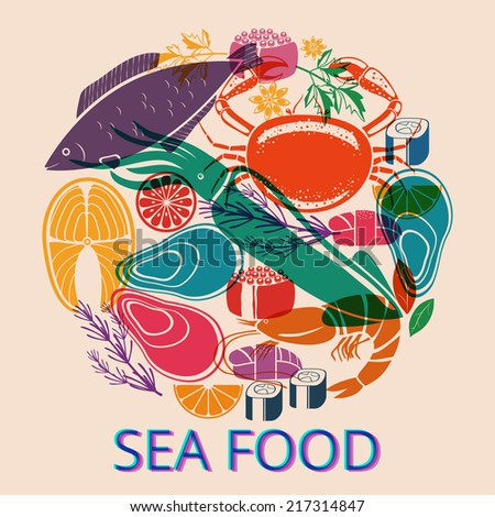 Circular Seafood Graphic with Various Fish and Shellfish for Menu or Market - stock vector