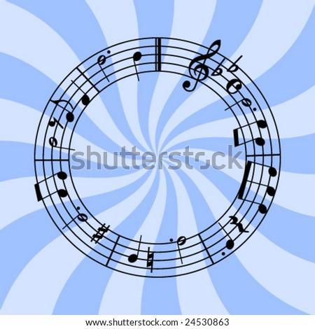 circular sheet music on swirly background - stock vector