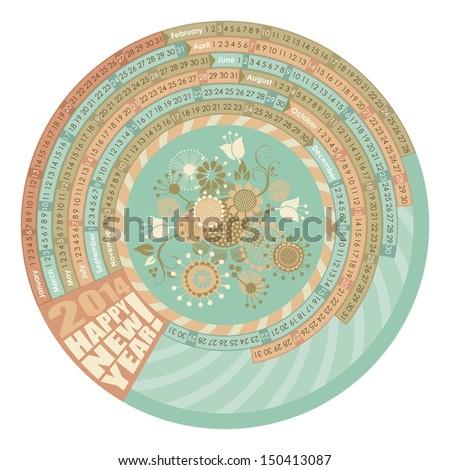 Circular, spiral calendar for 2014 with highlighted Mondays - stock vector