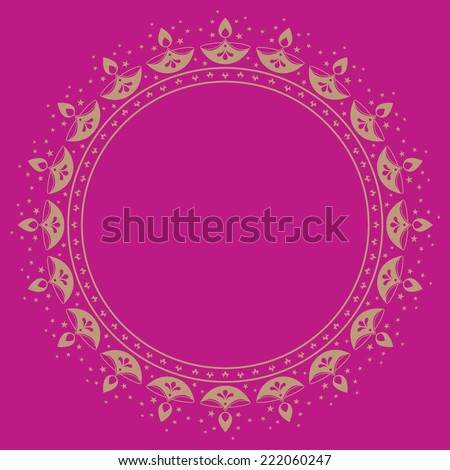 Circular vector border made with traditional lamp motif. - stock vector