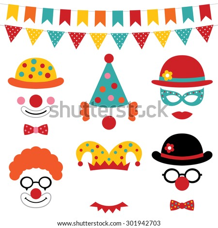 Circus and clown vector photo booth props - stock vector