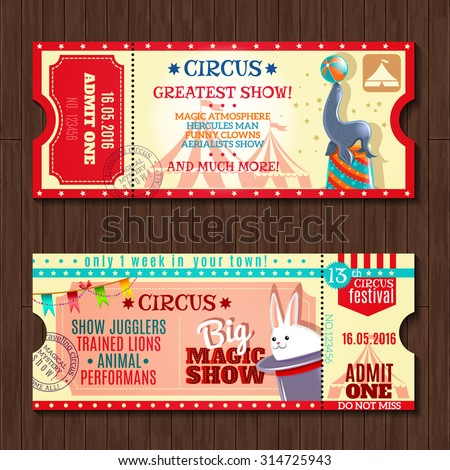 Circus big magic show with trained animals two vintage entrance tickets templates set abstract isolated vector illustration - stock vector