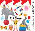 Circus Birthday Party Clip art elements isolated on white - stock vector