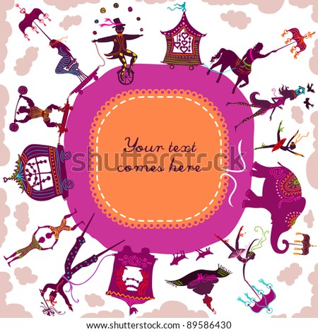 Circus caravan going in circle with magician, elephant, dancers and various characters - stock vector