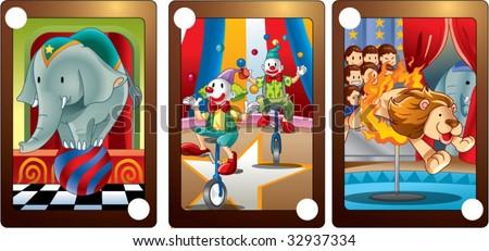 circus card - stock vector