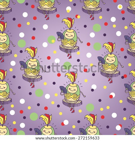 Circus cute and funny dancer seamless pattern - stock vector