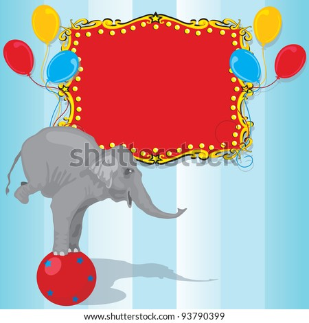 Circus Elephant Birthday Party Invitation Card  with Red Marquee and balloons. Plenty of room for your information - stock vector
