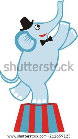 Circus elephant cute cartoon vector illustration - stock vector
