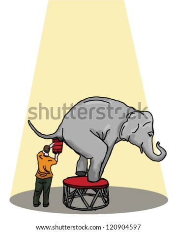 Circus elephant having a poop - stock vector