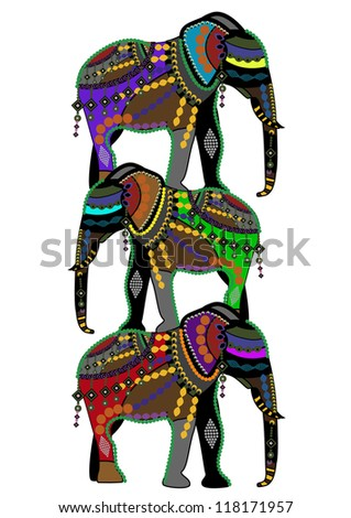 circus elephants in the ethnic style stand on the backs of each other! - stock vector