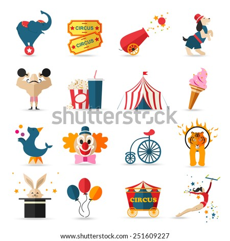 Circus entertainment  icons set. Flat style design. Vector illustration. - stock vector