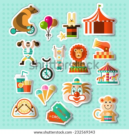 Circus entertainment paper stickers set with tickets lion icecream isolated vector illustration - stock vector