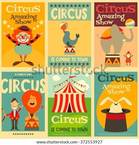Circus Entertainment Posters Retro Set. Cartoon Style. Circus Animals and Characters. Vector Illustration. - stock vector