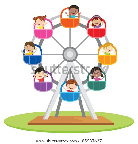 Circus ferris wheel. Vector illustration of diversity kids riding a ferris wheel. - stock vector