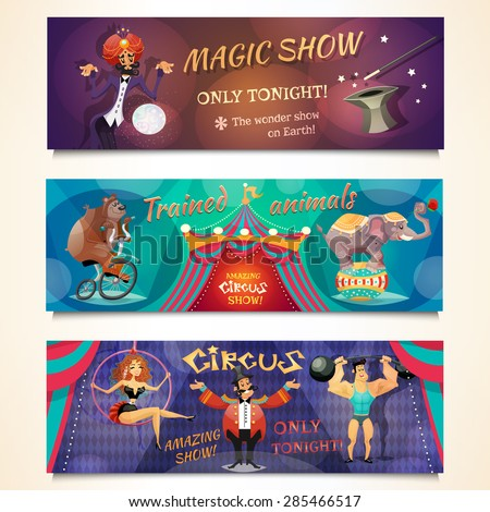 Circus horizontal banner set with magic show and animals alvertising isolated vector illustration - stock vector