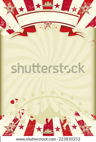 circus Kraft sunbeams. A circus background on a  Kraft grunge paper with red sunbeams. Ideal poster for your show - stock vector