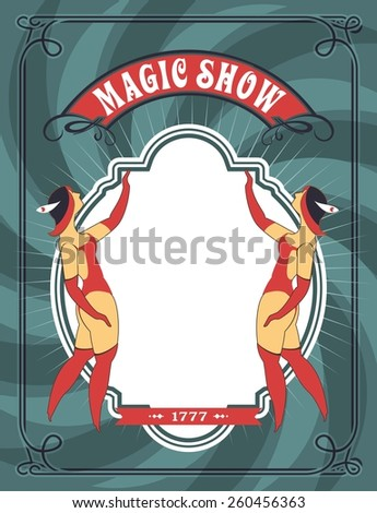 circus poster with a circus dancers in costumes standing by the frame for your text - stock vector