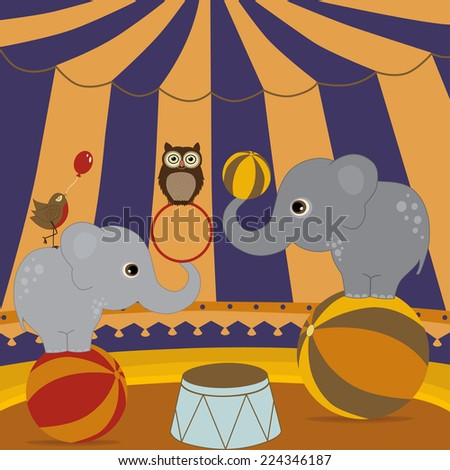 Circus show illustration with elephants and birds - stock vector