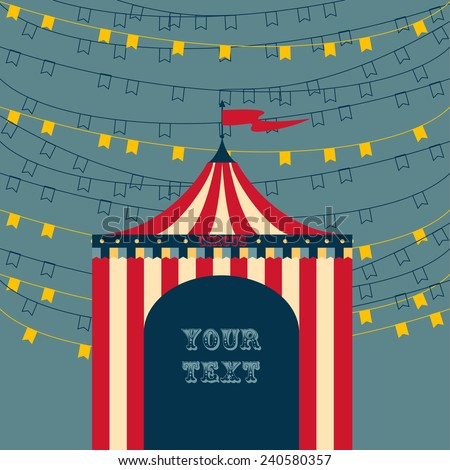 Circus tent advertisement template - stock vector