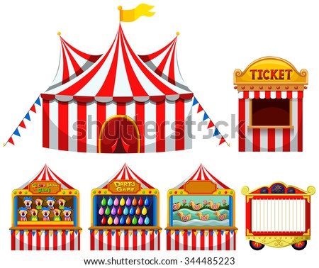 Circus tent and game boothes illustration - stock vector