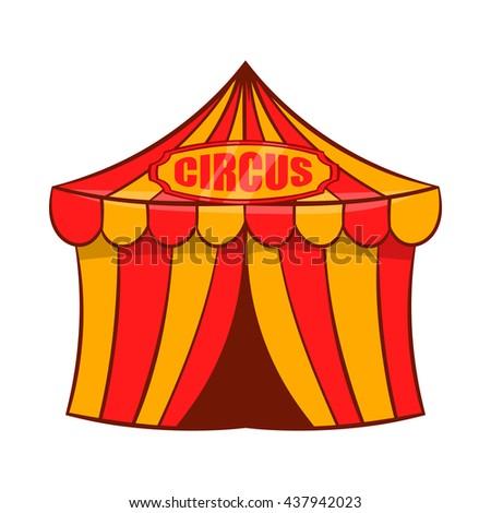 Circus tent icon, cartoon style - stock vector