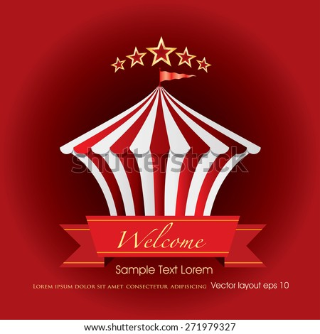 circus tent icon like cake with banner and sample text - stock vector