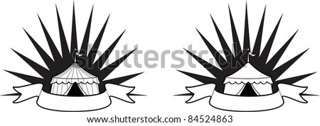 Circus Tent vector with banner and burst behind it.  Ideal for a carnival sign - stock vector