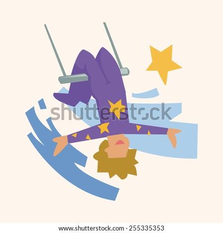 circus theme trapeze artist elements - stock vector