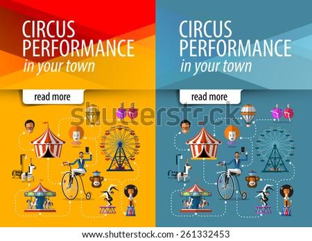 circus vector banner design template. circus show or entertainment icons. - stock vector