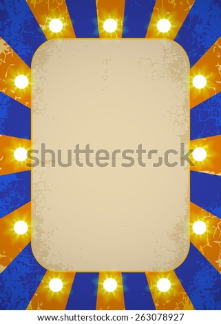 Circus vintage poster with bright lights - stock vector