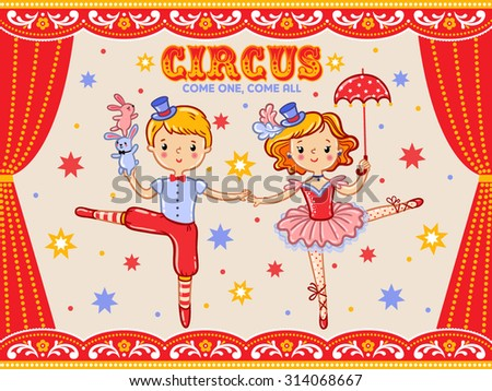 Circus vintage poster with  two circus artists.  - stock vector
