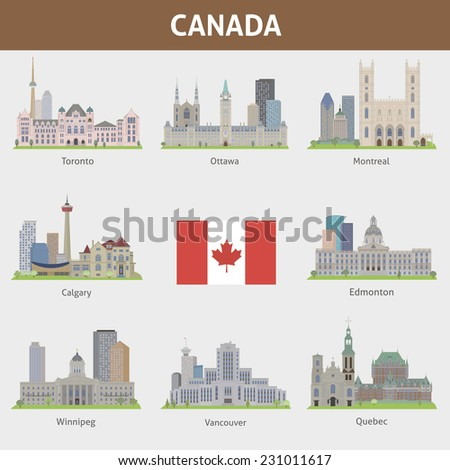 Cities in Canada - stock vector
