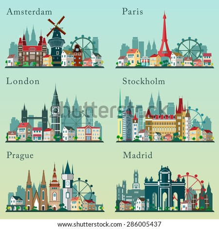 Cities skylines set. Vector flat landscapes. European cities cityscapes - stock vector