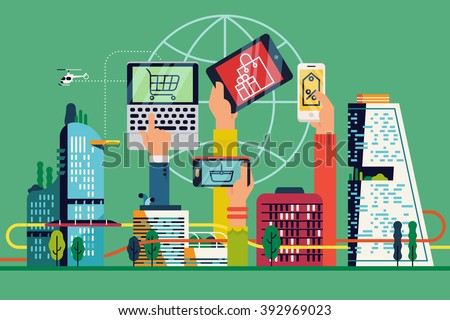 Citizens hands using mobile devices for online shopping abstract vector background, banner or header image. Cool online market and Internet auction concept business illustration. Electronic commerce - stock vector