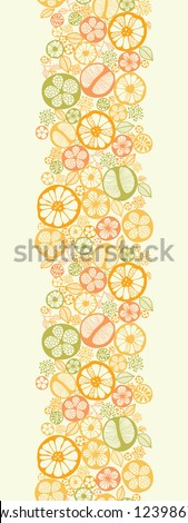 Citrus slices vertical seamless pattern background border - stock vector