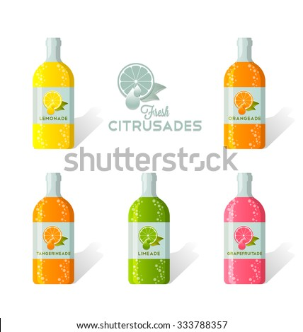 Citrusade bottles with fresh juicy citruses depicted on label - stock vector