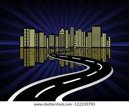 city abstraction with the road leading to it - stock vector