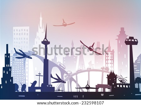 City airport illustration - stock vector