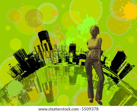 City and girl - stock vector