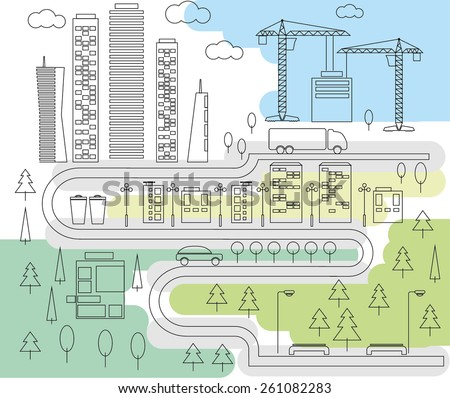 City and park line art. Vector illustration. - stock vector