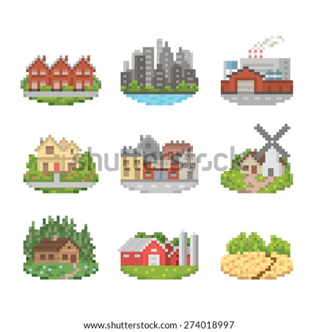 City And Town Pixel Art Icon Set - stock vector