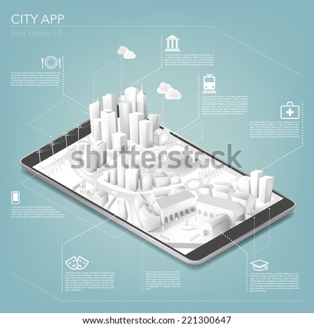 City app - stock vector