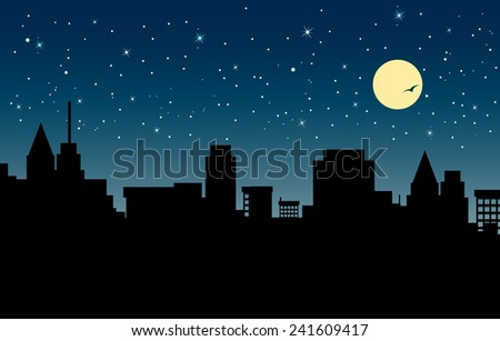 City at night in the sky and the moon in the background. - stock vector