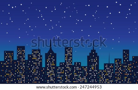 city at night under the stars - stock vector