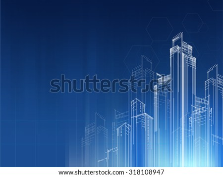 city Background architectural vector with drawings of modern  - stock vector