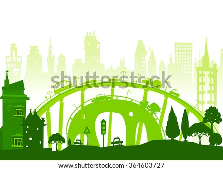City background. Cars and busy roads - stock vector