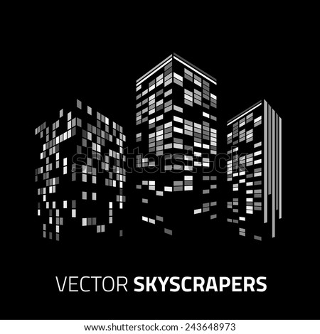 City background - skyscrapers with lights. Cityscape background. - stock vector